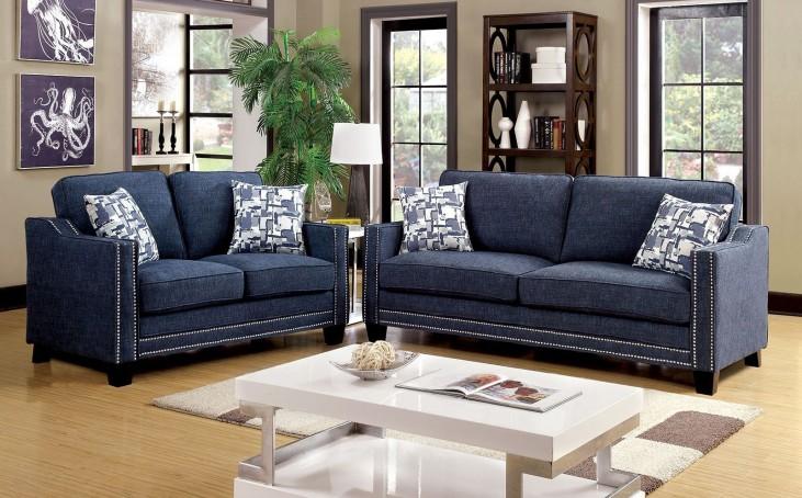 Kerian Blue Chenille Living Room Set