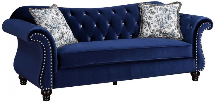 Jolanda Blue Flannelette Fabric Sofa