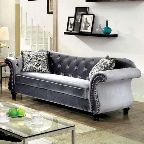 Jolanda Grey Flannelette Fabric Sofa