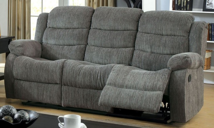 Millville Gray Chenille Reclining Sofa From Furniture Of