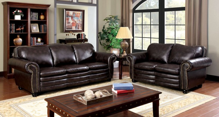 Benedict Dark Brown Leatherette Living Room Set