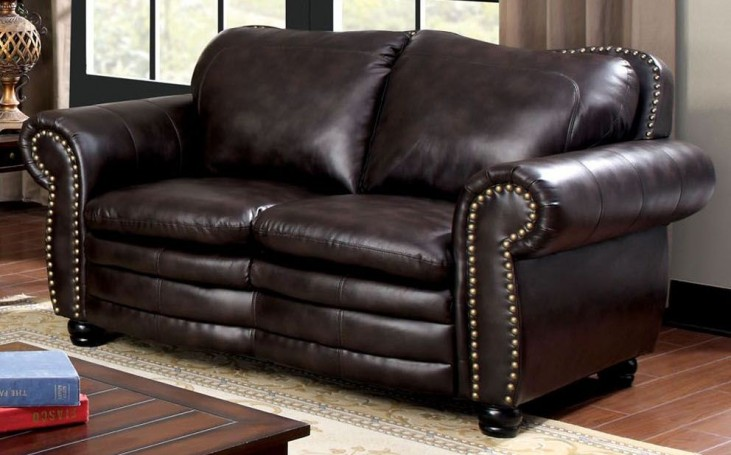 Benedict Dark Brown Leatherette Loveseat