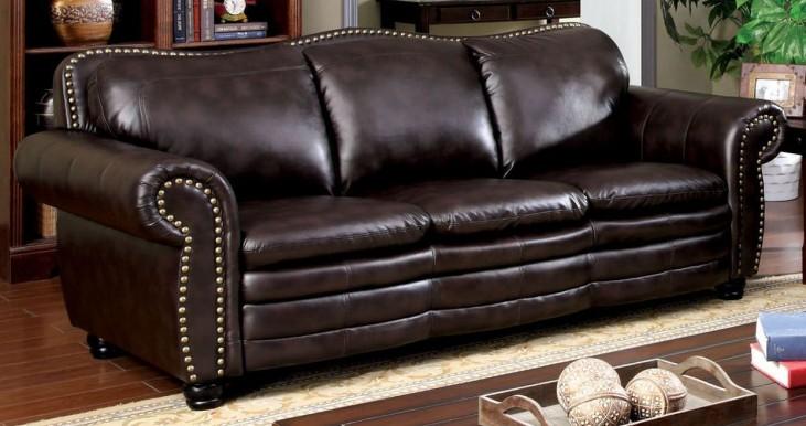 Benedict Dark Brown Leatherette Sofa