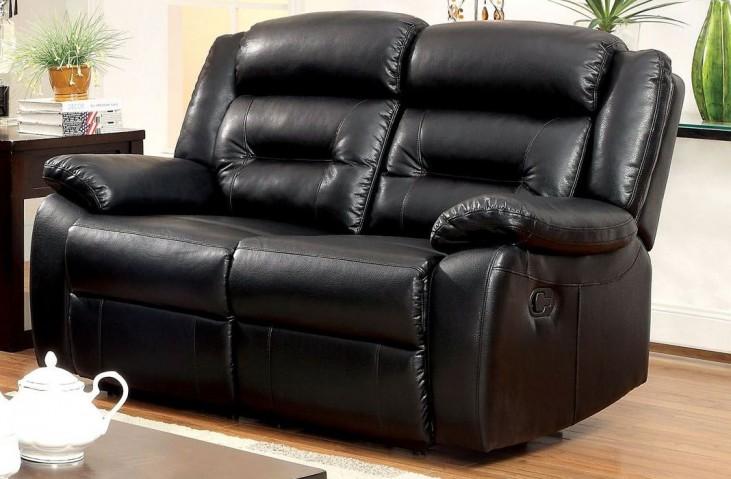 Sheldon Black Bonded Leather Match Reclining Loveseat