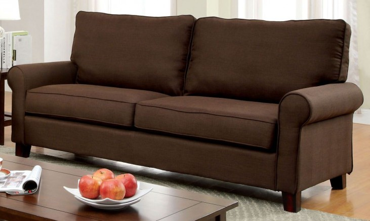 Hensel Brown Flax Fabric Sofa