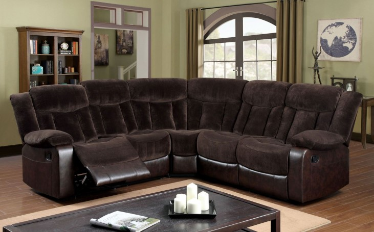Hampshire Brown Champion Fabric and Leatherette Reclining Sectional