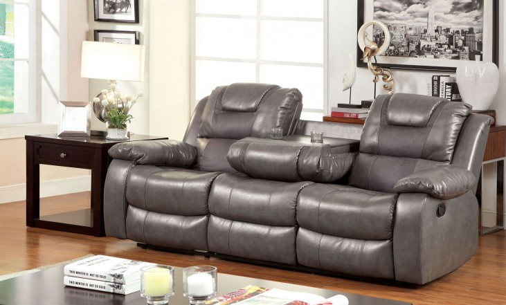 Grandolf Gray Reclining Sofa With Dropdown Table