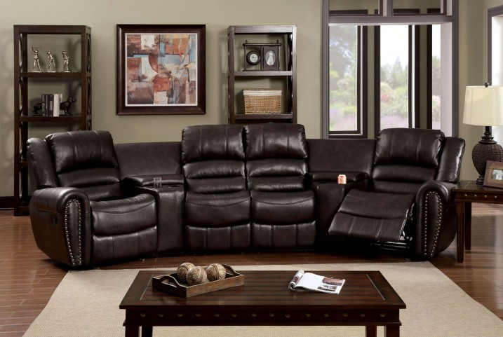 Washburn Rustic Brown Leath-Aire Fabric Reclining Sectional