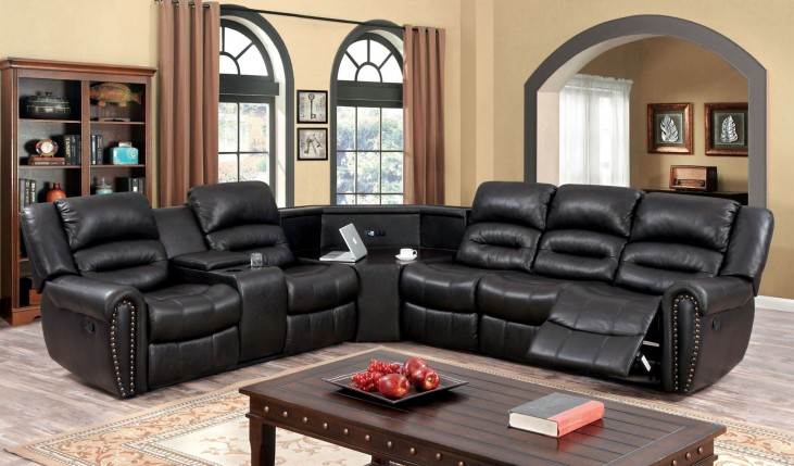 Wales Leath-Aire 5 Seat Reclining Sectional