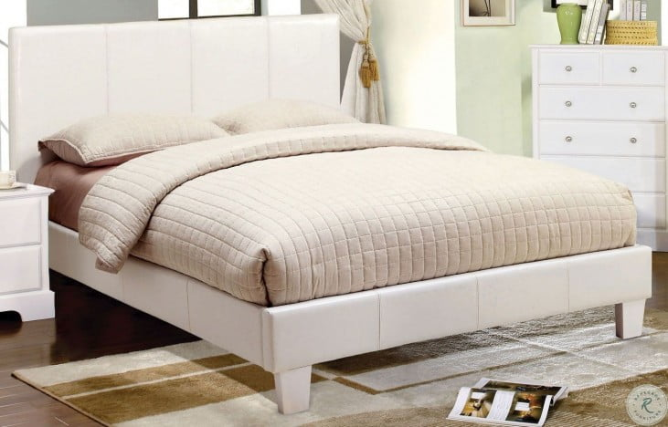 Winn Park White Queen Leatherette Platform Bed