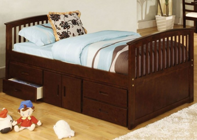 Caballero Dark Walnut Twin Captain Storage Bed