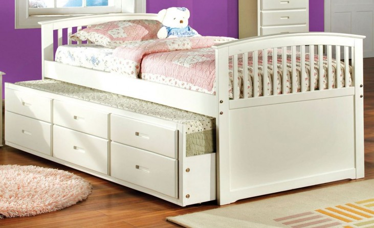 Bella White Twin Panel Captain Trundle Storage Bed