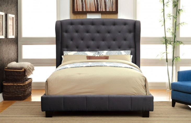 Fontes Gray Flax Fabric Queen Bed