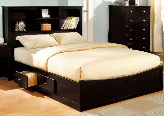 Brooklyn Espresso King Bookcase Platform Bed