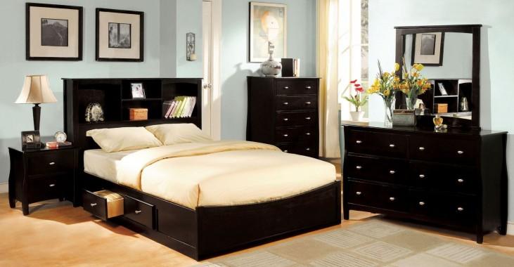 Brooklyn Espresso Bookcase Platform Bedroom Set