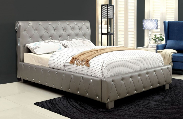 Juilliard Silver Leatherette Queen Bed