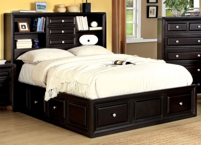 Yorkville Espresso King Platform Bookcase Bed