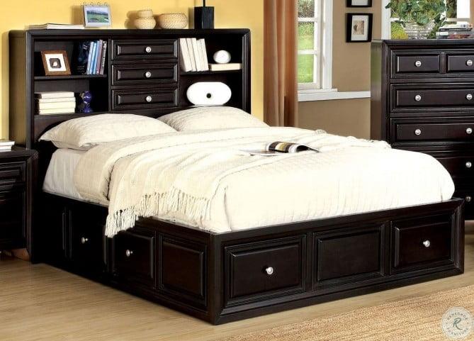 Yorkville Espresso Queen Bookcase Platform Bed