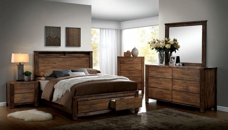 Elkton Oak Platform Storage Bedroom Set