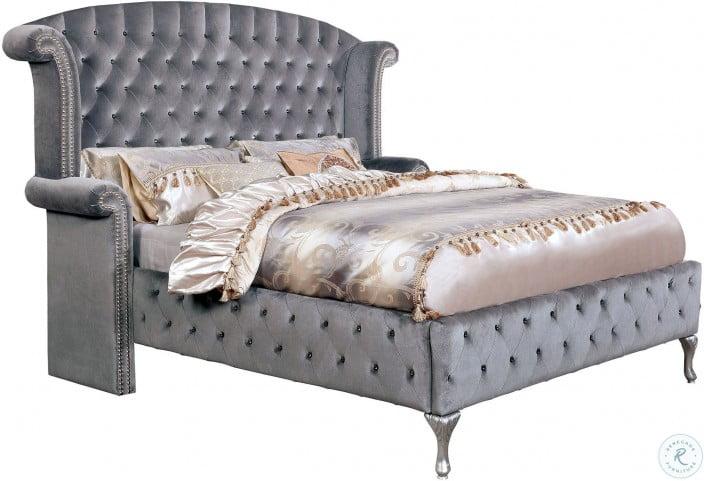 Alzir Gray Queen Upholstered Platform Bed
