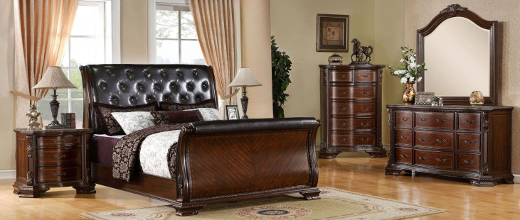 South Yorkshire Brown Cherry Sleigh Bedroom Set