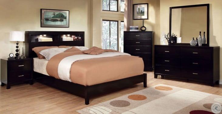Gerico I Dark Espresso Queen Bookcase Bed