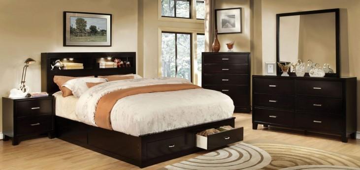 Gerico II Dark Espresso Storage Platform Bedroom Set