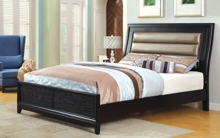 Golva Black King Panel Bed
