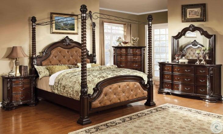Monte Vista II Dark Brown Upholstered Poster Canopy Bedroom Set