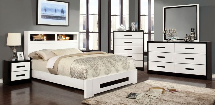 Rutger White and Black Headboard Storage Platform Bedroom Set