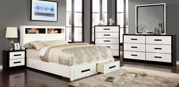 Rutger White and Black Queen Bookcase Storage Bed