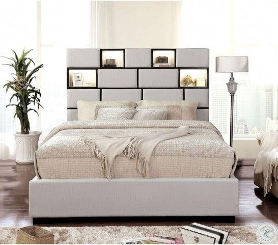 Gemma Beige Cal. King Upholstered Platform Bed
