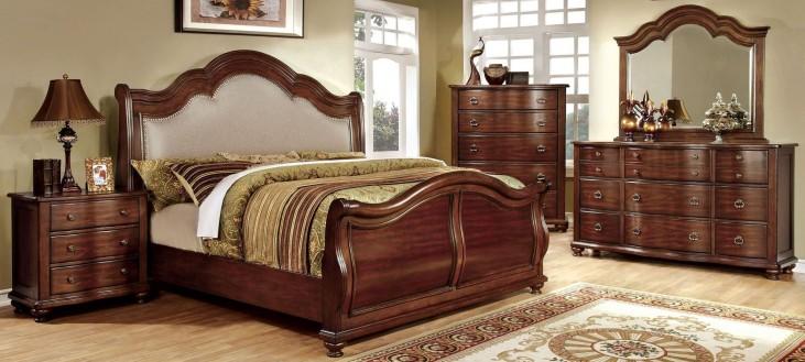Bellavista Brown Cherry Sleigh Bedroom Set
