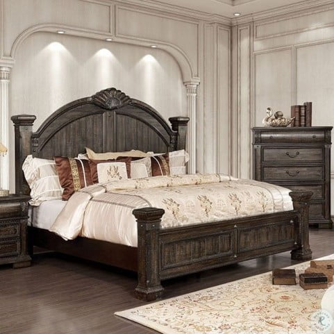 Genevieve Distressed Walnut Poster Bedroom Set From Furniture Of America Coleman Furniture