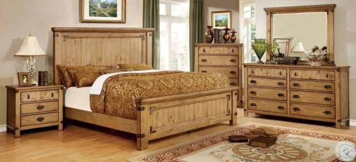 Pioneer Burnished Pine Queen Panel Bed