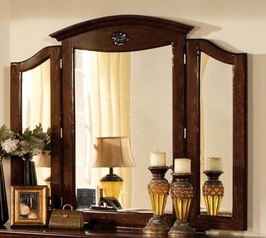 Tuscan II Glossy Dark Pine Tri-Fold Mirror