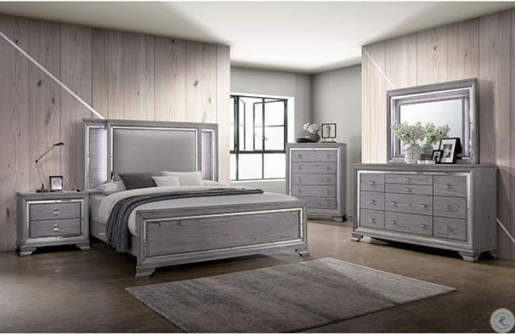 Alanis Light Gray Upholstered Panel Bedroom Set From Furniture Of America Coleman Furniture