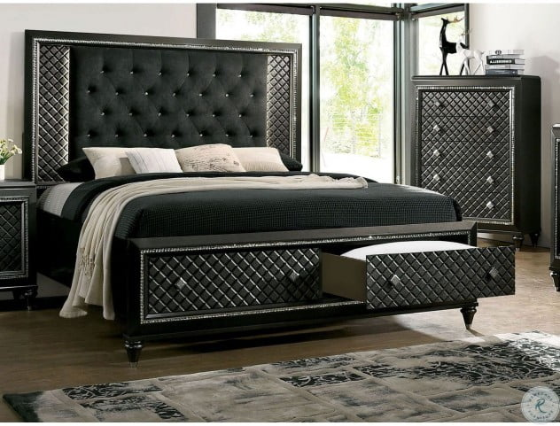 Demetria Metallic Gray Cal. King Upholstered Panel Bed