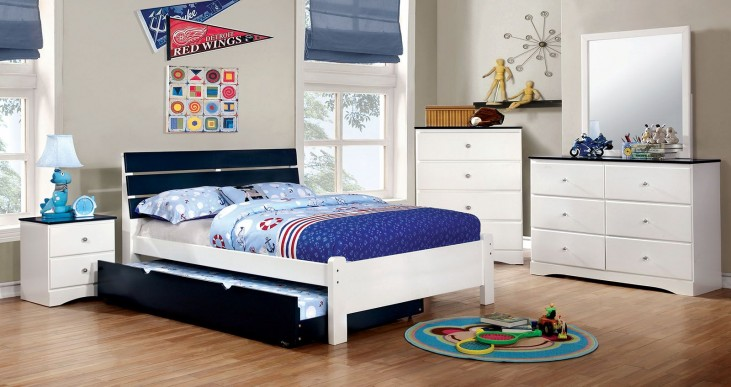 Kimmel Youth Blue And White Platform Bedroom Set