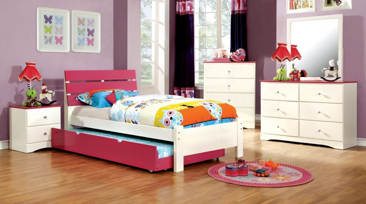 Kimmel Youth Pink And White Platform Bedroom Set