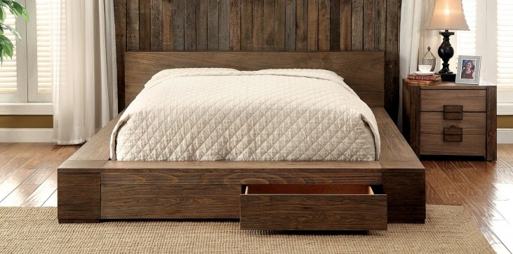 Janeiro Rustic Natural Queen Storage Bed