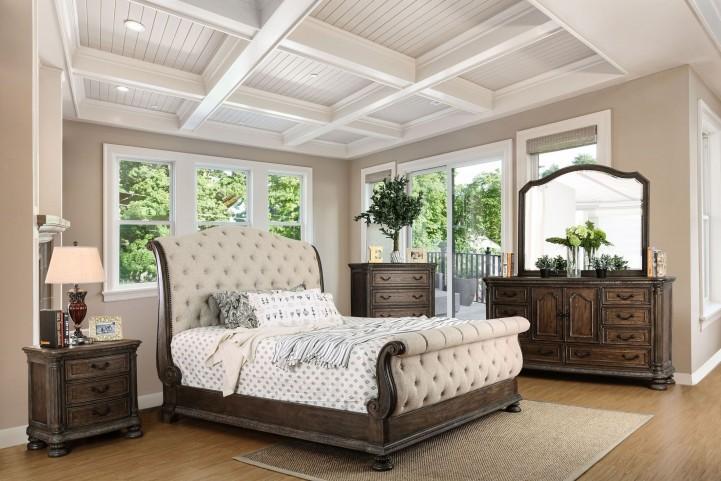 . Lysandra Rustic Natural Tone Sleigh Bedroom Set