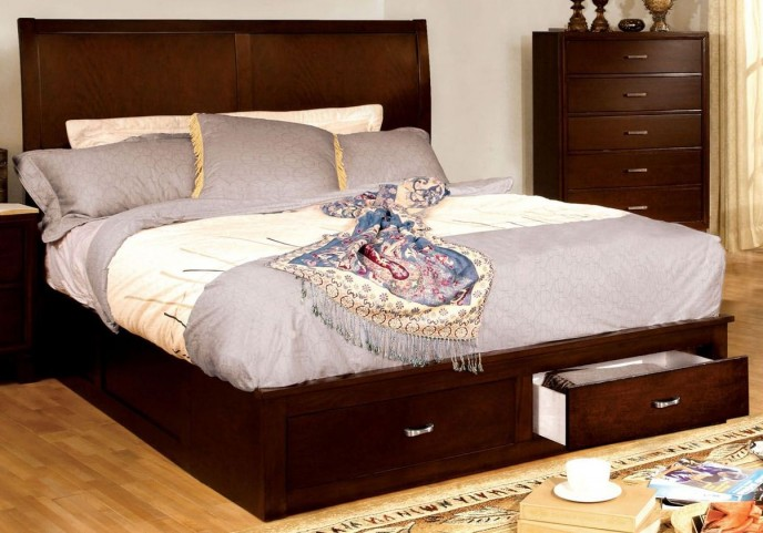 Enrico V Brown Cherry Queen Platform Storage Bed