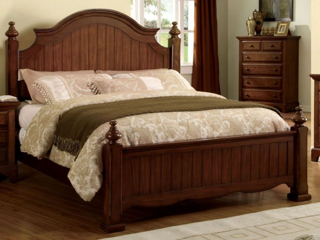Palm Coast Light Walnut King Panel Bed