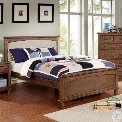 Colin Dark Oak Full Upholstered Panel Bed From Furniture Of America Coleman Furniture