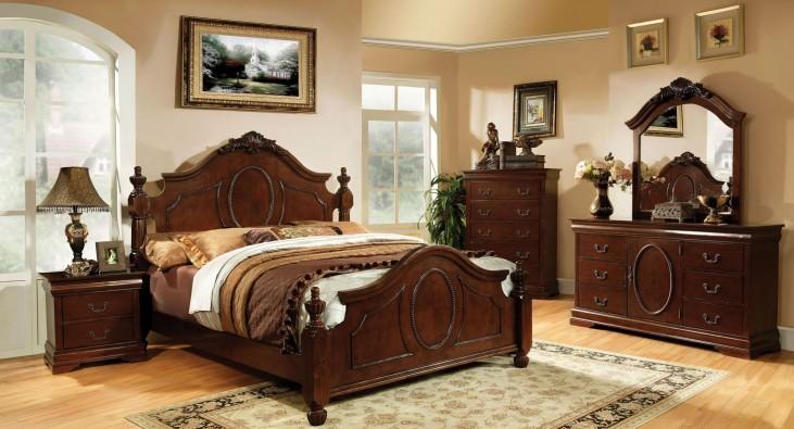 Velda II Brown Cherry Panel Bedroom Set