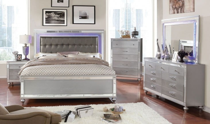 301b8a6dd1014 Brachium Silver Upholstered Panel Bedroom Set