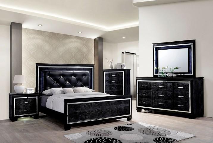 Bellanova Black Upholstered Panel Bedroom Set