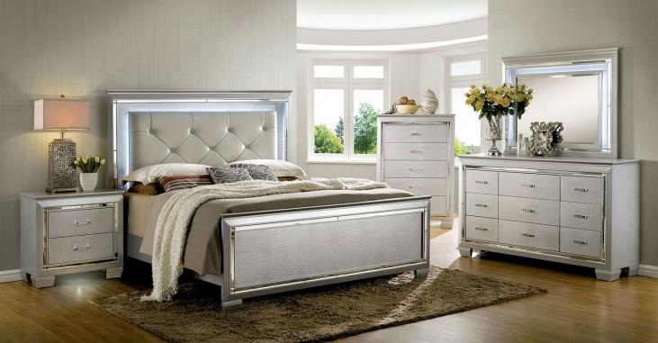Bellanova Silver Upholstered Panel Bedroom Set