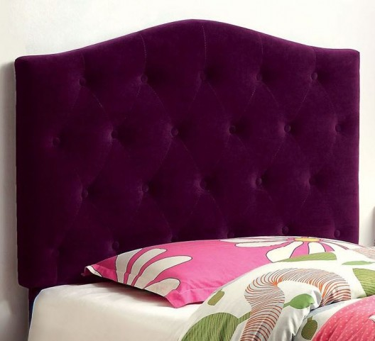 Alipaz Purple Flax Fabric Twin Size Headboard